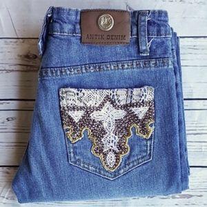 Antik Denim boot cut embroidered/crochet jeans/26